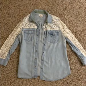 denim and lace button down top
